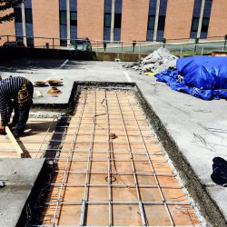 Parking garage slab repair - Rebar, Plywood and Steel Rehab